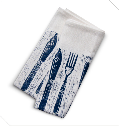 This blue and white, knife and fork design tea towel is hand-printed onto a cotton / linen blend by Maradadhi Textiles. Available from Meekel - R100.00 | http://www.meekel.co.za/linens/cutlery-tea-towel